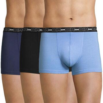 Lot de 3 boxers bleus Coton Stretch-DIM