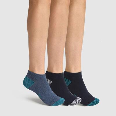Lot de 3 paires de socquettes enfant mix and match denim Coton Style, , DIM