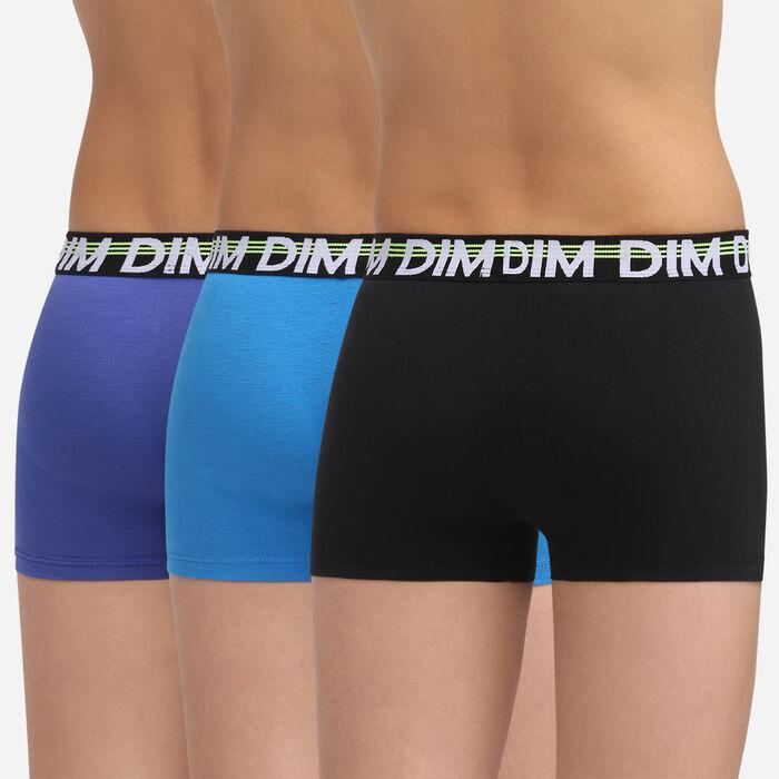 Lot de 3 boxers Noir pour garçon en coton stretch Promo Eco Dim, , DIM