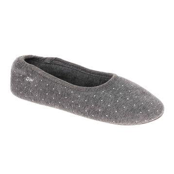Chaussons ballerines gris à pois blancs Femme-DIM