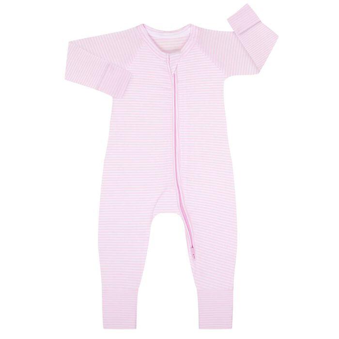 Pyjama bébé zippé Rayé Rose layette et blanc DIM Baby, , DIM