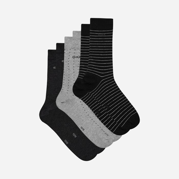Lot de 3 chaussettes noires et anthracite pois rayures Homme, , DIM