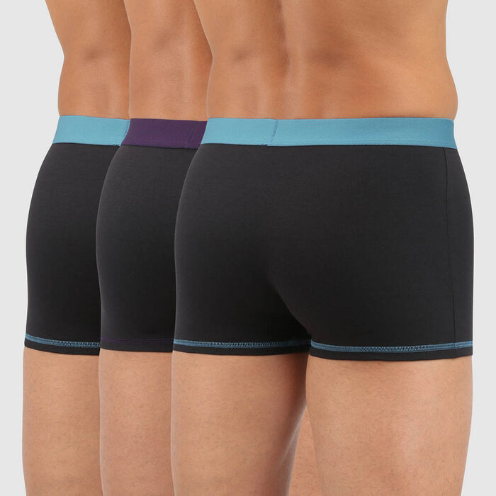 Lot 3 boxers coton ceinture colorée noir vert violet Mix and Colors, , DIM