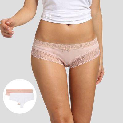 Lot de 2 shortys blancs et skin rose Sexy Fashion de Dim, , DIM