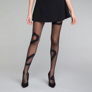 Collant fantaisie motif asymétrique noir 20D - DIM Style, , DIM