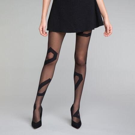 Collant fantaisie motif asymétrique noir 20D - DIM Style  ff60a1326a7