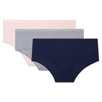Lot de 3 boxers en coton stretch bleu, gris et rose Les Pockets EcoDim, , DIM