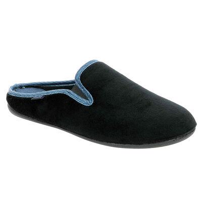 Chaussons type pantoufles noirs avec coutures apparentes Homme, , DIM