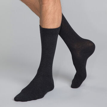 Mi-chaussettes coton X3 anthracite Homme Basic Coton, , DIM
