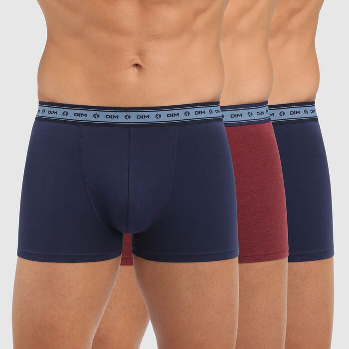 Lot de 3 boxers coton stretch bio bleu denim rouge vin Green by Dim, , DIM