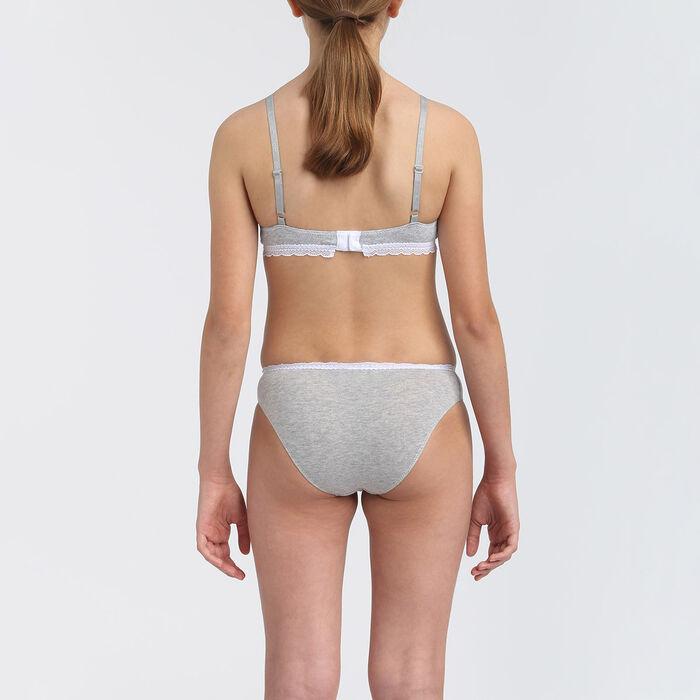 Soutien-gorge fille à mousses amovibles coton stretch Gris Dim Trendy, , DIM