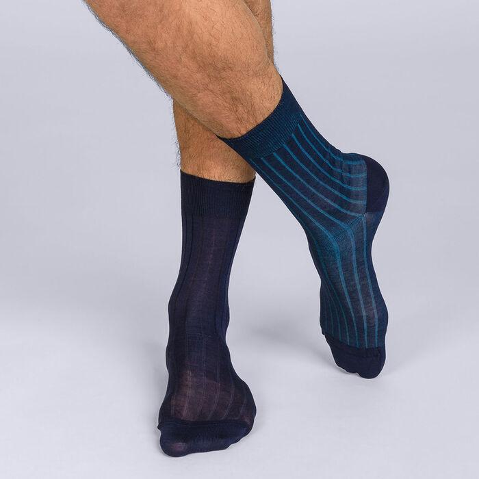 Lot de 2 mi-chaussettes côtes fines Homme Fil D'ecosse, , DIM
