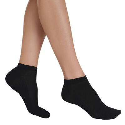 Lot de 2 socquettes invisibles noires Light Coton Femme, , DIM