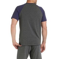 T-shirt de pyjama manches courtes bleu et gris Homme-DIM