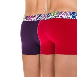 Lot de 2 boxers rouge et violet Tropic DIM Boy-DIM