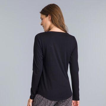 T-shirt à manches longues noir Soft & Cool Femme-DIM
