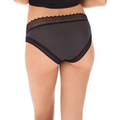 Slip noir à pois blancs en coton dentelle Sexy Fashion-DIM