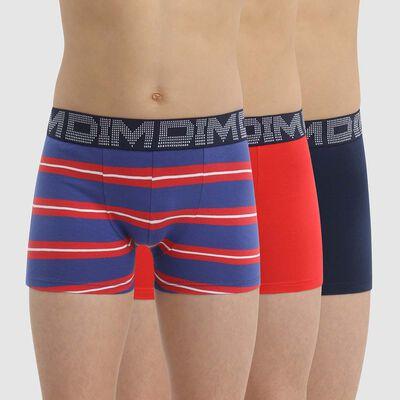 Lot de 3 boxers garçon coton stretch à rayures Rouge Bleu Dim Rythmics, , DIM