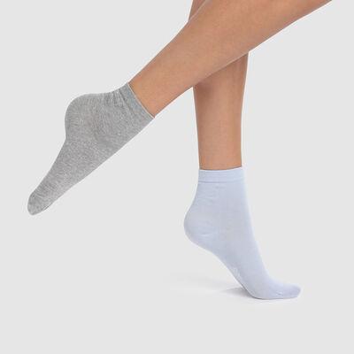 Lot de 2 paires de socquettes en coton bleu cachemire gris Basic Coton, , DIM