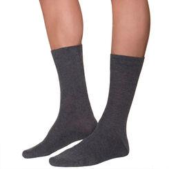 Mi-chaussettes anthracites à côtes Homme, , DIM
