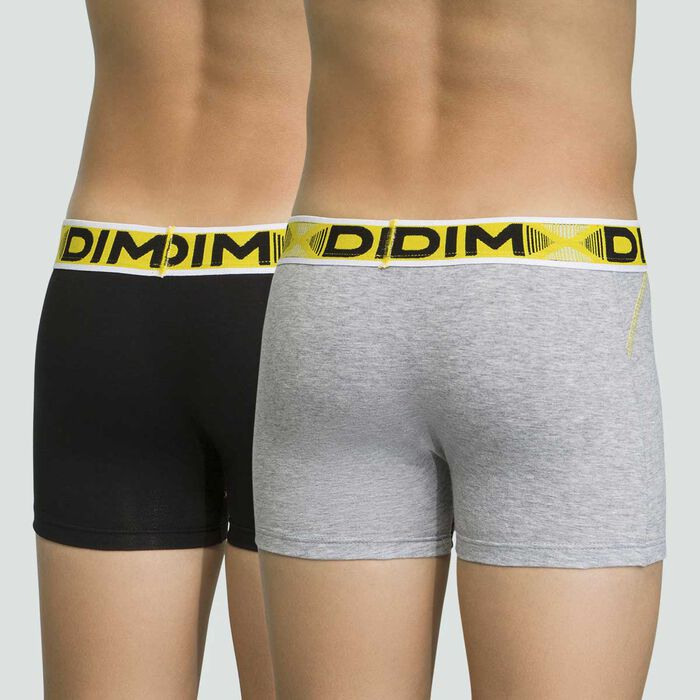 Lot de 2 boxers pour garçon Gris Chiné en coton stretch 3D Flex Air, , DIM
