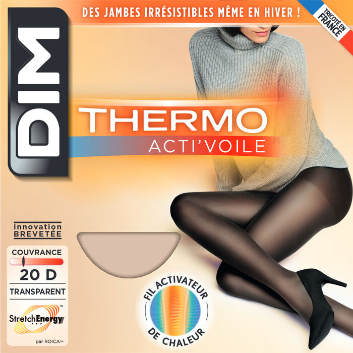 Collant Thermo Acti'Voile beige 20D, , DIM