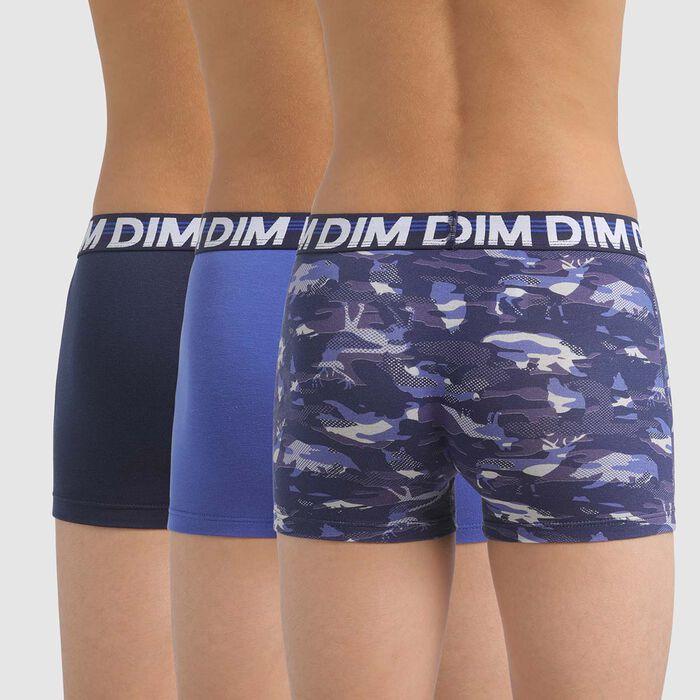 Lot de 3 boxers garçon en coton stretch à imprimé animal Bleu Ecodim, , DIM