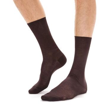 Chaussettes marrons en fil d'Ecosse Homme-DIM