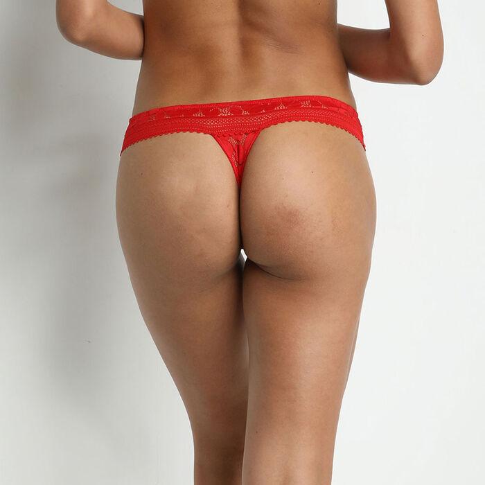 String femme en dentelle à motifs fleuris Rouge Coquelicot Daily Glam, , DIM