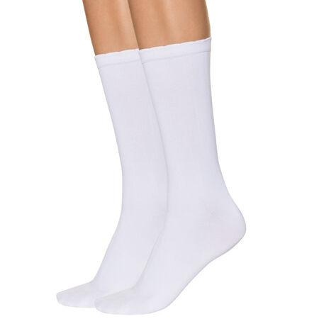 24100427c48f2 Lot de 2 mi-chaussettes blanches seconde peau Femme