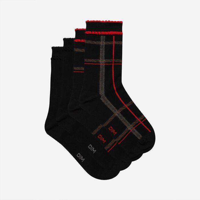 Lot de 2 paires de chaussettes femme tartan Rouge Noir Coton Style, , DIM