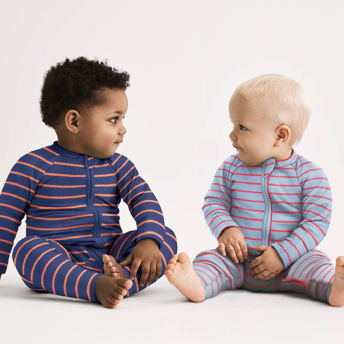 Pyjama bébé zippé côtelé à rayures grises et oranges DIM Baby, , DIM