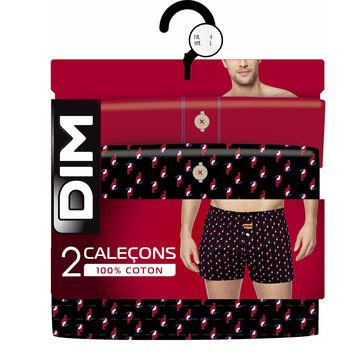 Lot de 2 caleçons rouge et imprimé toucan 100% coton-DIM