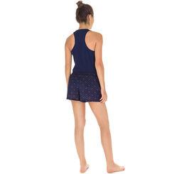 Short de pyjama bleu imprimé couronnes Femme-DIM