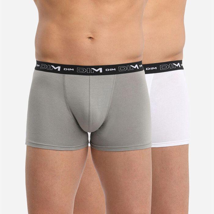 Lot de 2 boxers anthracite et blanc DIM Coton Stretch, , DIM