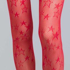 Collant résille étoile rouge intense 73D Style-DIM