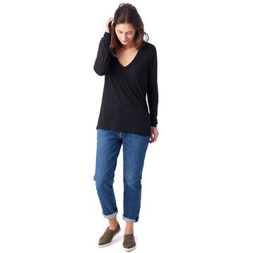 T-shirt fluide noir à manches longues Femme-DIM