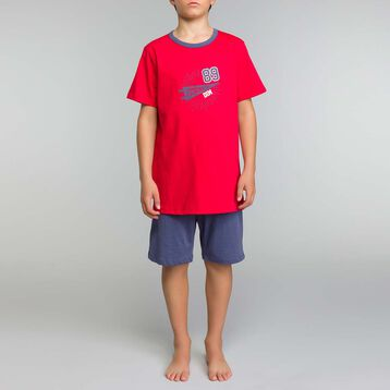 Pyjama garçon 2 pièces rouge et bleu - Nuit up Star, , DIM