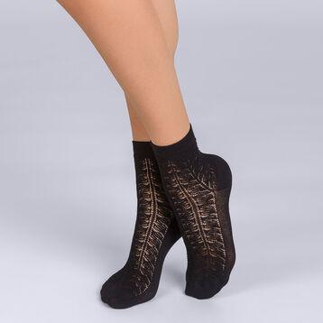 Socquettes Coton style Moucharabieh noir Femme-DIM