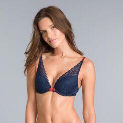 Soutien-gorge foulard push-up bleu noir Sublim Dentelle-DIM