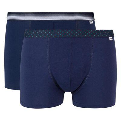 Lot de 2 boxers bleu denim coton stretch ceinture imprimée Mix and Print, , DIM