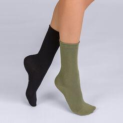 Mi-chaussette Modal Duo X2 noir et kaki Femme-DIM