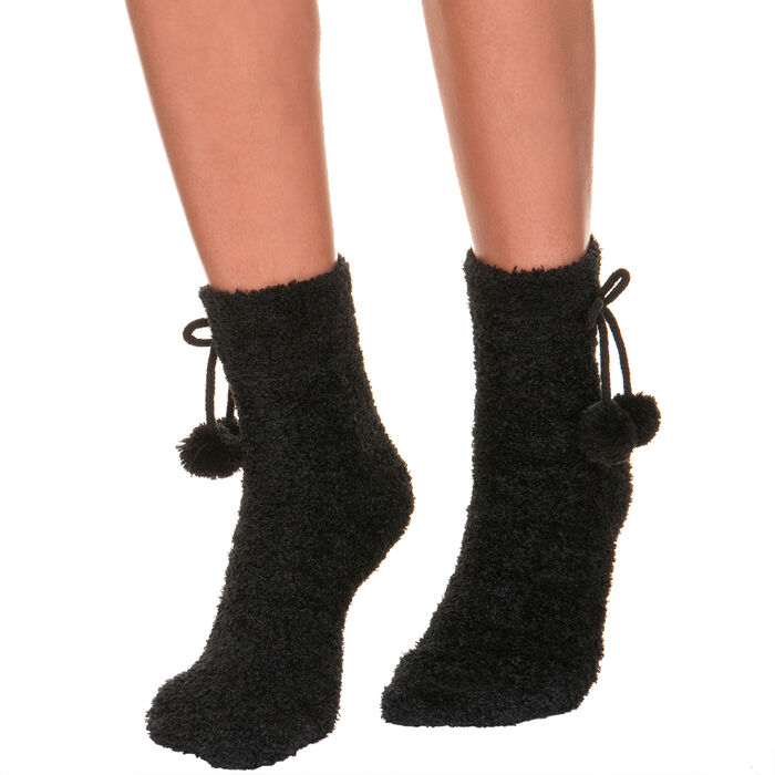 Mi-chaussettes noires Cocoon Femme, , DIM