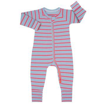 Pyjama bébé zippé côtelé à rayures bleues et fuschias DIM Baby, , DIM