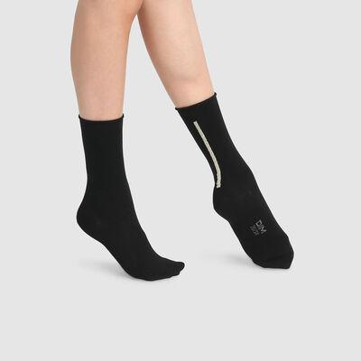 Lot de 2 paires de chaussettes mi hautes modal lurex or Noir Dim Modal , , DIM