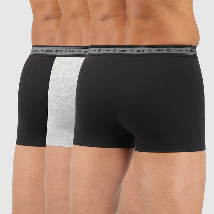 Lot de 3 boxers homme coton stretch bio noir gris perle Green by Dim, , DIM