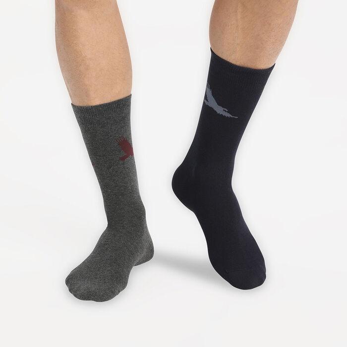 Lot de 2 paires de chaussettes homme à motif aigle Bleu Coton Style, , DIM