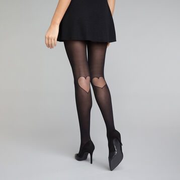 Collant fantaisie motif cœur arrière genou noir 20D - Dim Style, , DIM