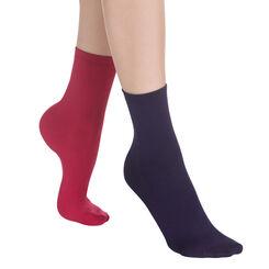 Lot de 3 paires de socquettes rouge et bleu microfibre Femme-DIM