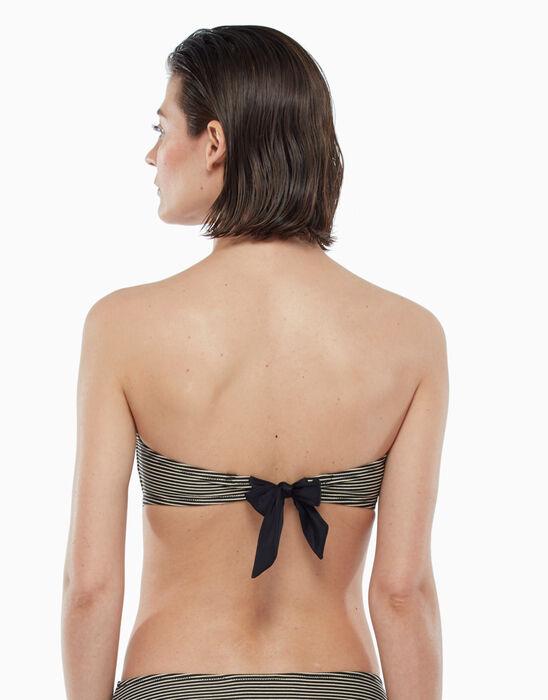 Haut de maillot de bain avec armatures à rayures dorées et noires, , DIM
